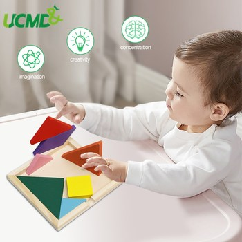 Wooden Tangram Jigsaw Toys Montessori Brain Teaser Geometric Training Color Cognitive Children Early Education Puzzle Toy Gift flyingtown montessori teaching aids balance scale baby balance game early education wooden puzzle children toys