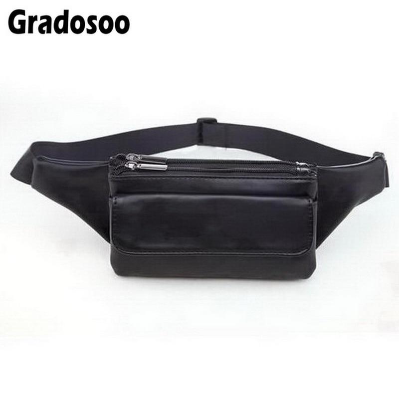 Gradosoo Fashion Leather Waist Bag Women Men Fanny Pack Multi-layered Small Banana Bags Unisex Belt Bag Zipper Phone Purse A066