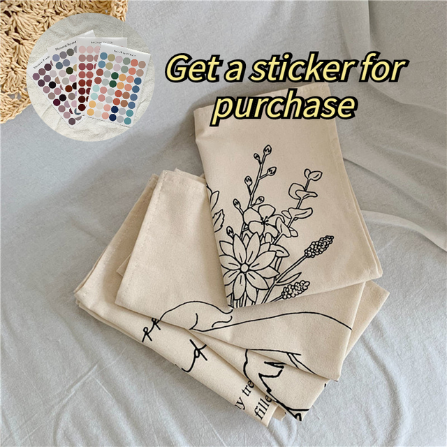 Cutelife Nordic Ins Cloth Flower Wall Hanging Tapestry Fabric Hand-drawn Macrame Wall Tapestry Napkin Dorm Apartment decoration 6