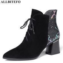 ALLBITEFO moda marka yüksek topuklu kadın çizmeler hakiki deri kalın topuk yarım çizmeler kadınlar için deri çizmeler kış kar ayakkabıları