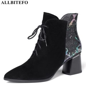 Image 1 - ALLBITEFO ファッションブランドハイヒールの女性のブーツ本革の厚さのヒール女性のための革冬の雪の靴