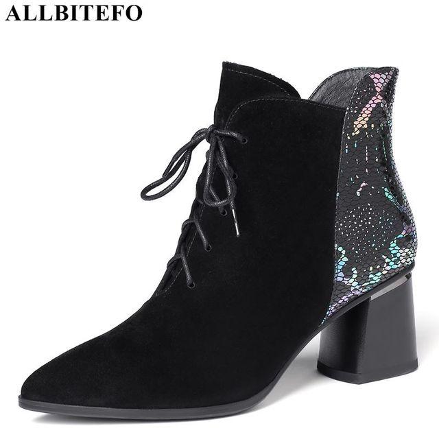 ALLBITEFO ファッションブランドハイヒールの女性のブーツ本革の厚さのヒール女性のための革冬の雪の靴