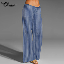 S-5XL Celmia Oversized Striped Trousers Women Vintage Linen Wide Leg Pant Casual Elastic Waist Loose Long Palazzo Pantalon Femme palazzo leg striped cami jumpsuit