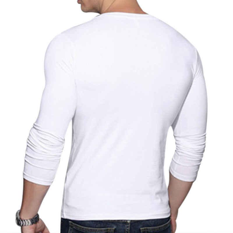 Футболка Для мужчин в винтажном стиле, с длинным рукавом однотонные Цвет облегающая футболки мужские футболки с v-образным вырезом Повседневное облегающая футболка