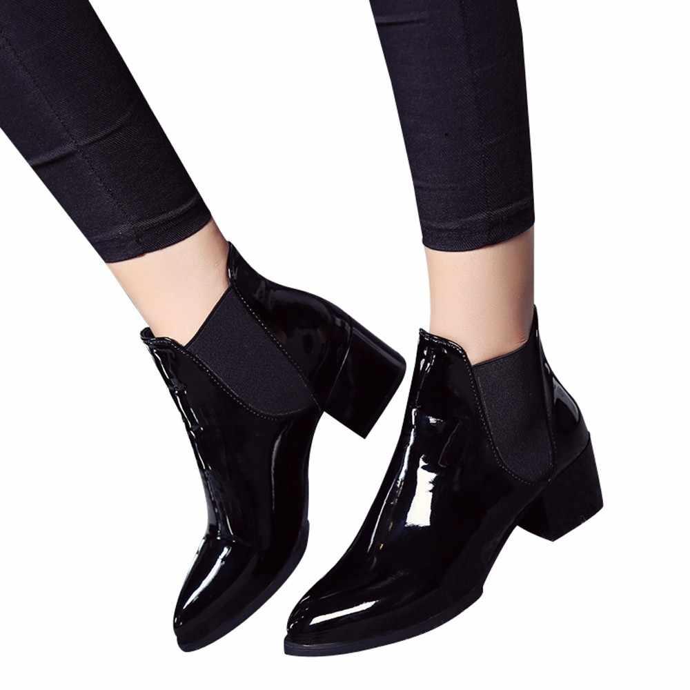 2019 di Nuovo Modo di Arrivo Scarpe Da Donna Stivali Elastico Alla Caviglia In Vernice Stivali A Punta Tacco Basso Stivali Donna Sexy Scarpe