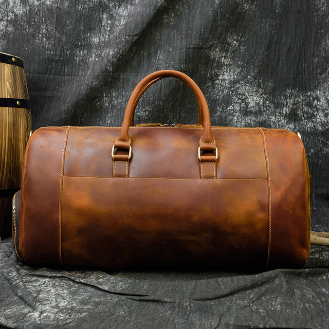 MAHEU Fashion Handbags For Men Genuine Leather Travel Duffles Travelling Shoulder Laptop Bags Real Cow Skin Hand Luggage Bags 5