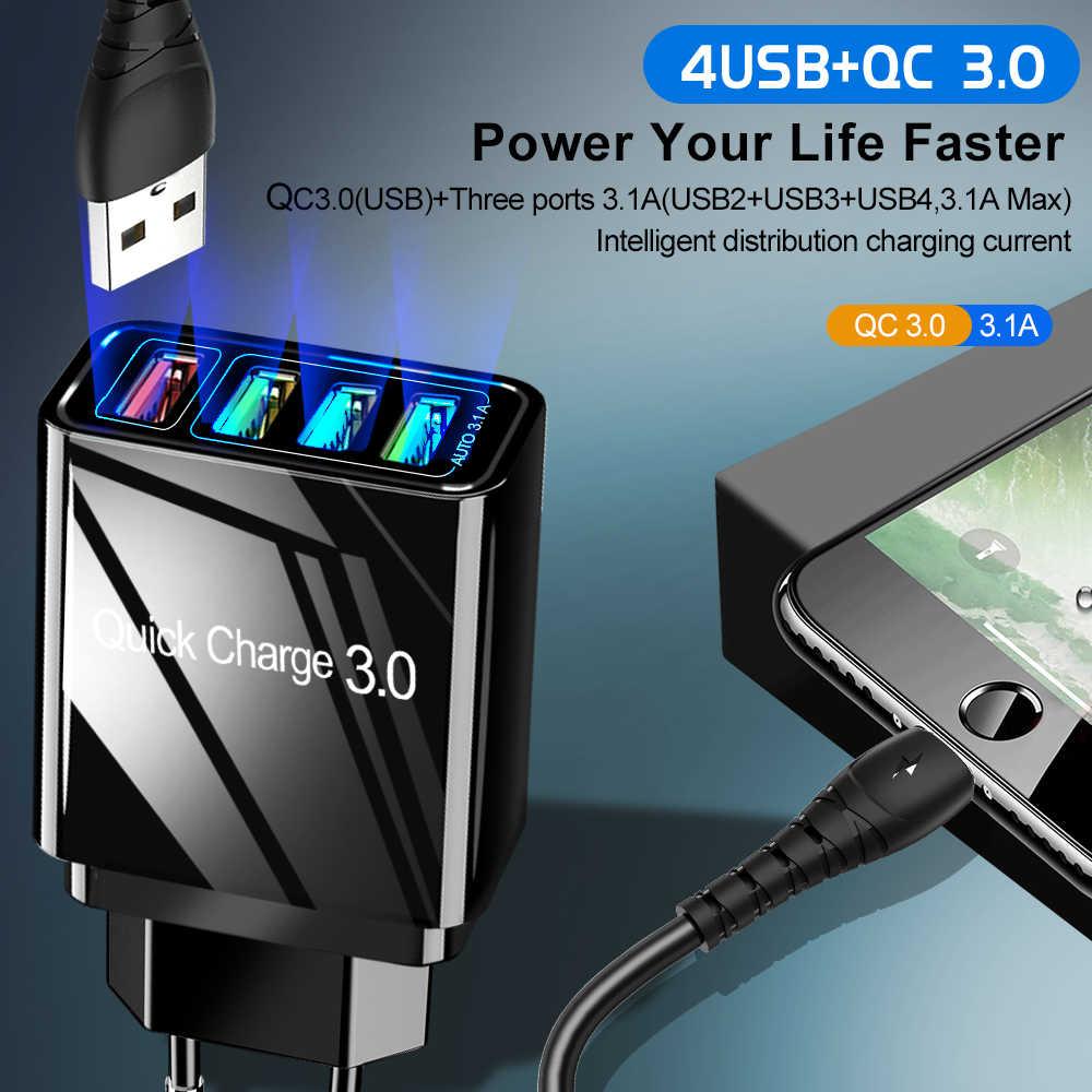 Suhach USB Charger Pengisian Cepat 3.0 Cepat Pengisian QC3.0 Multi USB Charger untuk Samsung S10 Plus Xiaomi Perjalanan Dinding Ponsel charger