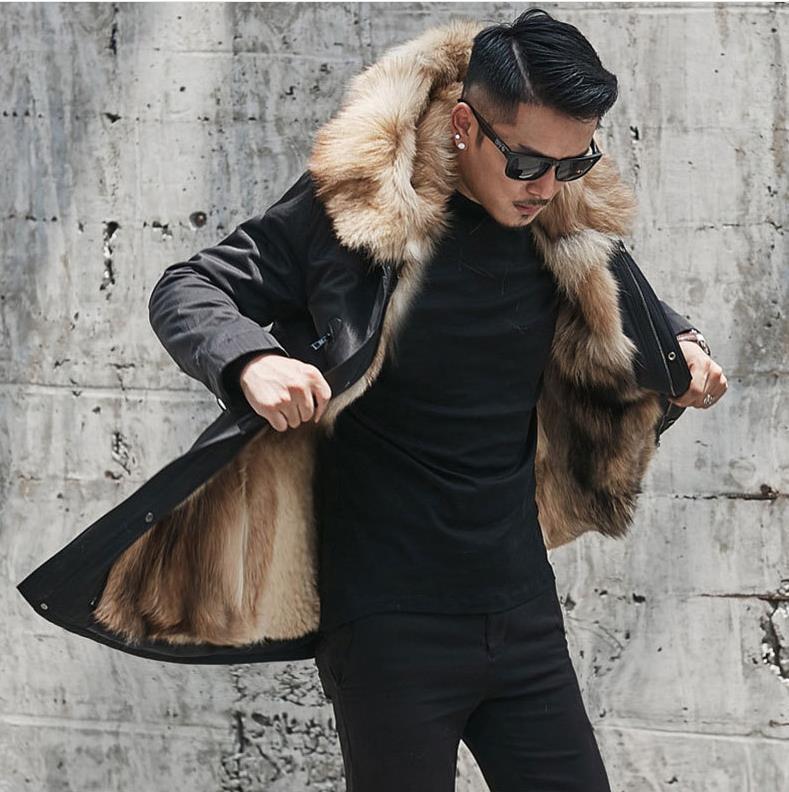 Hcdd028ec812e486b86f7442fff86bd30g Batmo winter wolf fur liner hooded jacket men, winter warm parkas men plus-size L-5XL