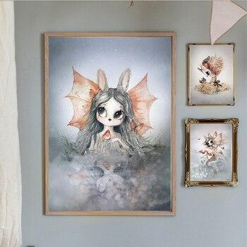 Póster de animales en espray de estilo nórdico, dibujo de flores, ciervos, conejo, chica, niño, ala, pájaro, lienzo, pintura para pared, imagen para decoración de habitación de niños