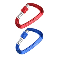 2 Pcs 12KN Screw Carabiner Aluminum Alloy D Shape Hook Loop Lock for Mountaineering Climbing Hammock Bag One Size  Red & Blue|Climbing Accessories| |  -