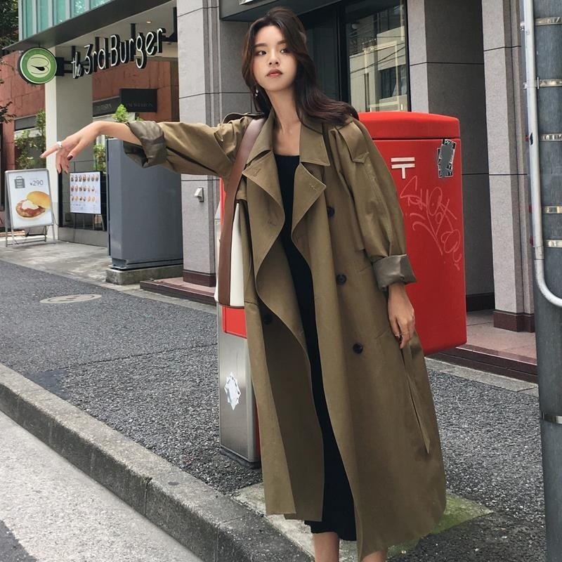 High quality camel   Trench   Coat Casual women's long Outerwear loose clothes for lady with belt winter fashion windbreaker -85