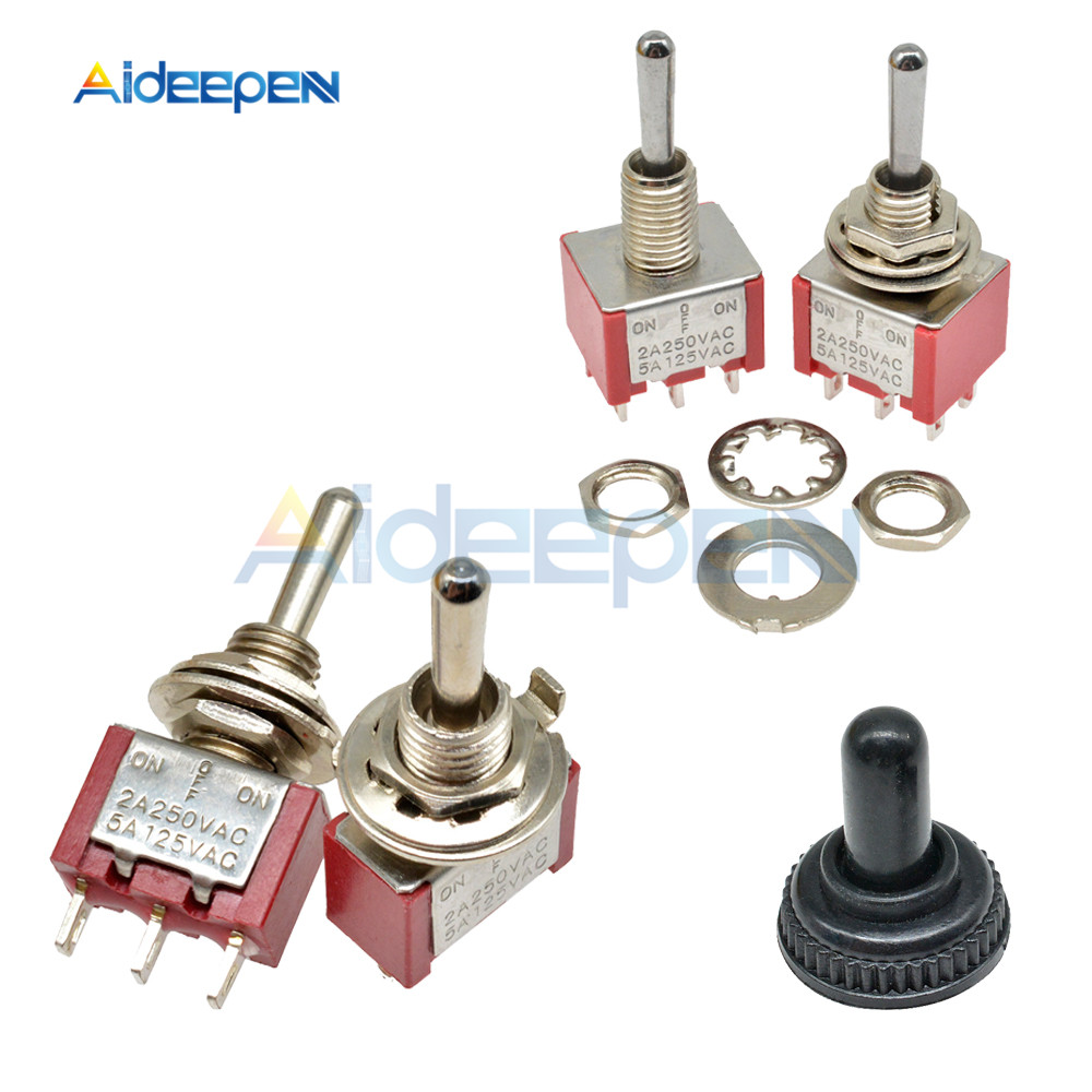 MTS-123 MTS-223 Self Resetting Toggle Switch ON-OFF-ON 3 Pin 6 Pin Switch Silver Contactor 125V 5A 250V 2A 3 Positions Switch