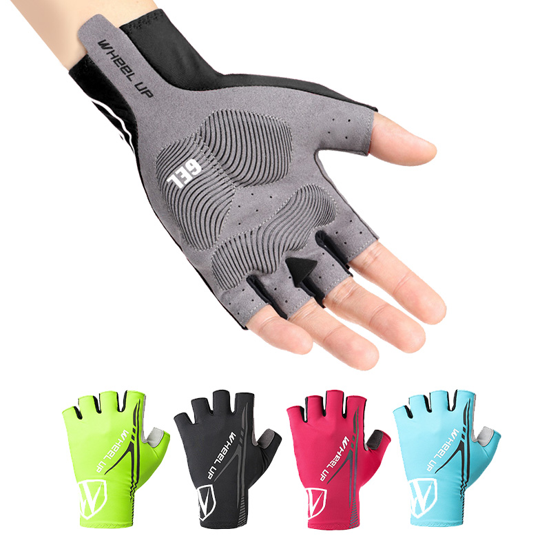 WHEEL UP Cycling Gloves Anti Slip Gel Pad Half Finger Bicycle Gloves Lycra Fabric Mittens Men MTB Road Gloves Racing Bike Gloves