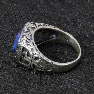 Image 5 - Echt Reine 925 Sterling Silber Ringe Für Männer Blau Natürlichen Kristall Stein Herren Ring Vintage Hohl Eingraviert Blume Edlen Schmuck