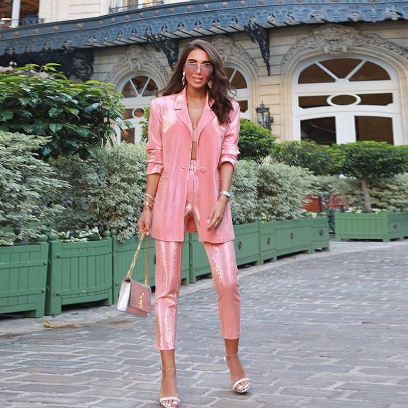 High Fashion Sequined Pink Women Suits Women Classy Autumn Long Sleeve Straight Top Qulity Single Button Two Piece Sets 2019