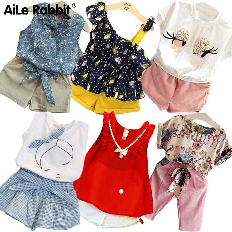 R&Z 2019 Toddler Kids Baby Girl Floral White Blouse + Floral Skirts Summer Short Sleeve 2PCS Infant Girl Clothes 2-7 Years