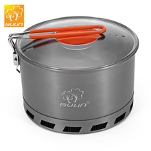 2.1L Camping Heat Exchanger Pot 2 - 3 Person Portable Cookware Picnic Quick Heating Kettle Outdoor Tableware for Hiking