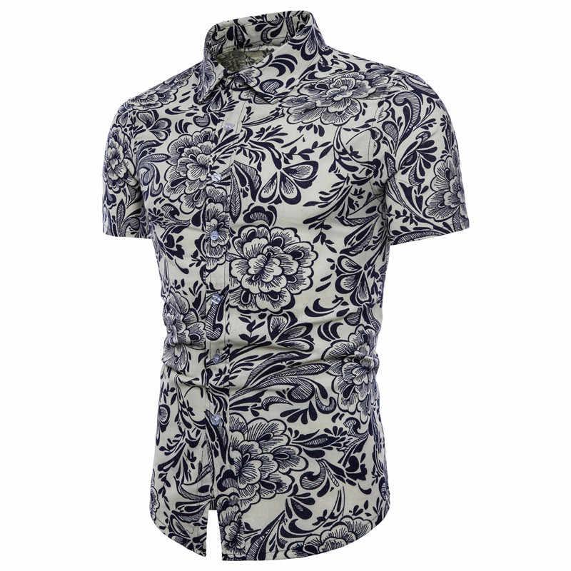 ファッション夏メンズシャツ半袖ストリートヨーロッパスタイルプラスサイズ 5XL フラワープリントシャツビーチ服男性 2020 A431