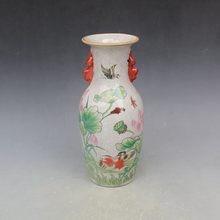 ¡Elaborado florero de porcelana rosa de la familia china impreso con hermoso Pato Mandarín y loto!