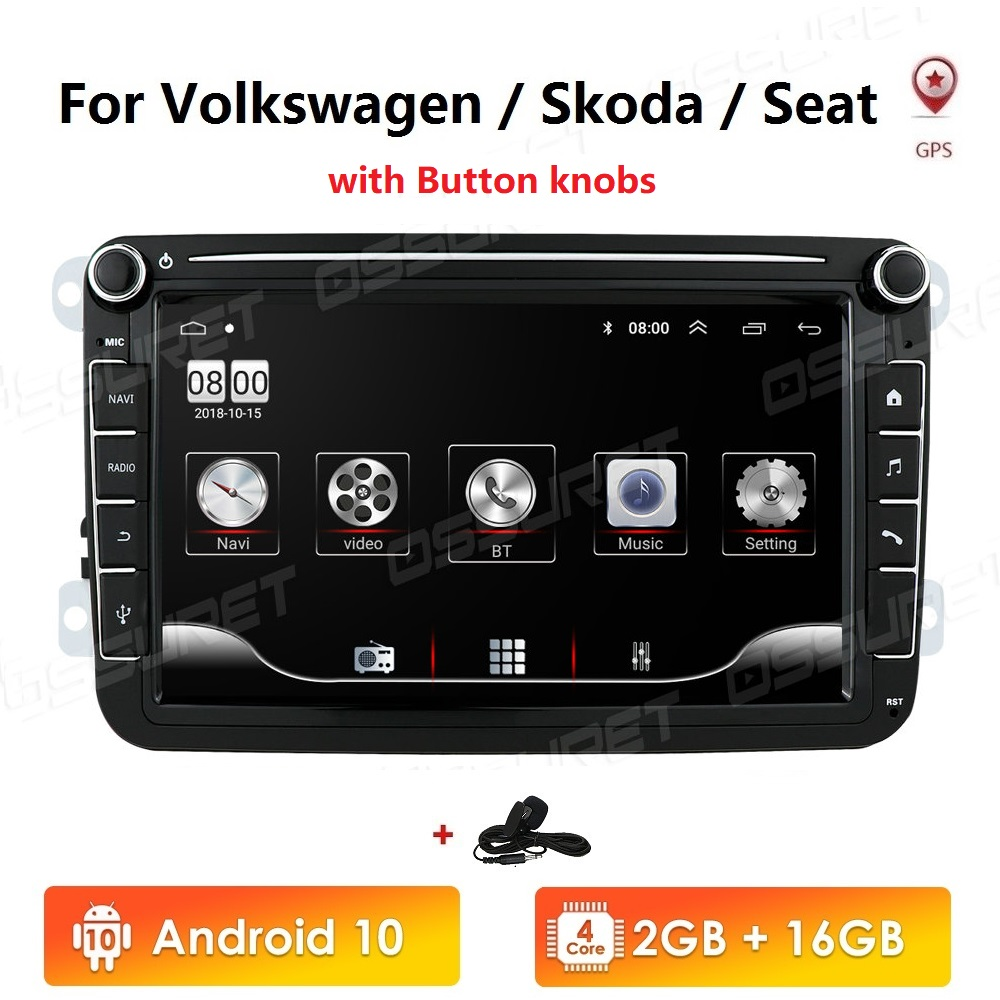 2 Din Android 10 Car radio GPS <font><b>Multimedia</b></font> For <font><b>Volkswagen</b></font> Skoda Octavia <font><b>golf</b></font> 5 <font><b>6</b></font> touran passat B6 polo tiguan jetta yeti image