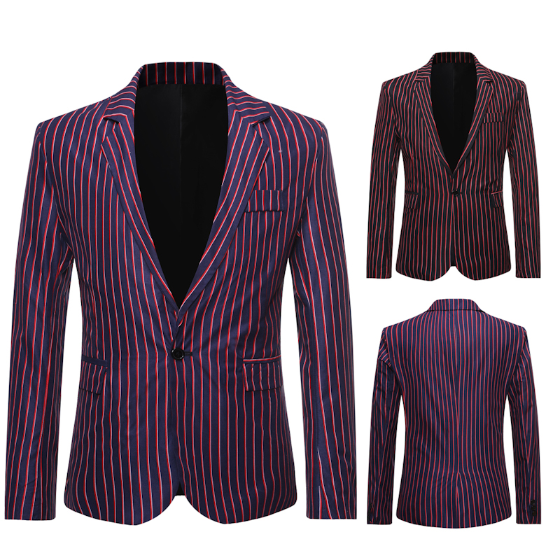 Mens Blazer 2020 New Fashion Trend Stripe Contrast Color Business Casual Single Button Mens Suits Blazers