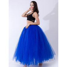 100cm Lange Tulle Tutu Tafel Rok Chic Bladerdeeg Rokken Womens Faldas Baby Shower Decoratie Hawaiiaanse Royal Blue Bruiloft Accessoires(China)