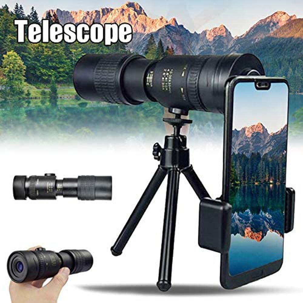 4k 10-300x40mm Super Telephoto Zoom Monocular Telescope con tr/ípode y Clip Suitable for Smartphones and Sightseeing Trips Portable HD Cell Phone Lens with Smartphone Holder and Tripod