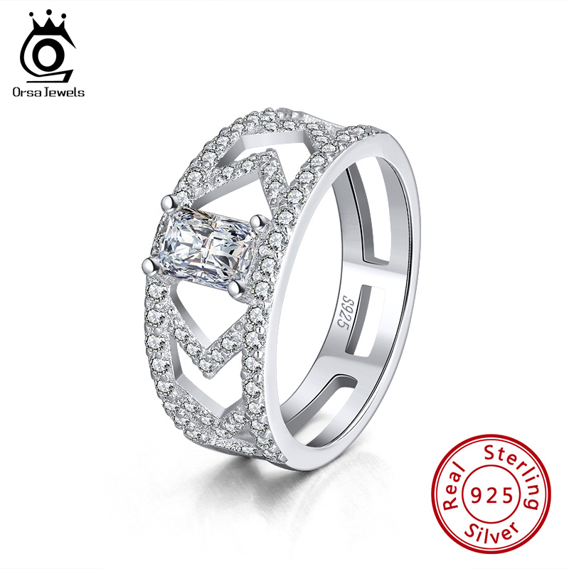 ORSA JEWELS Hyperbole Rings 7mm Width Genuine 925 Silver Ring Geometric Hollow CZ Rings Wedding Engagement Fine Jewelry SR209