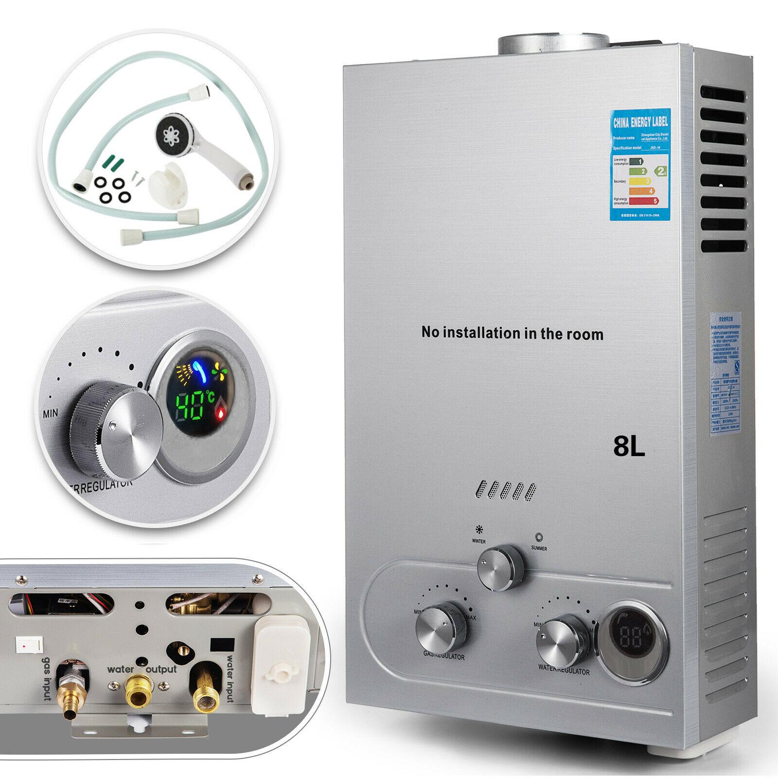 8L LPG Hot Water Heater Tankless Stainless Steel Instant Boiler +Shower