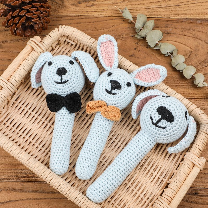 Bite Bites 1PC Baby Rattle Toys Animal Crochet Wooden Rings Rattle DIY Crafts Teething Rattle Amigurumi For Baby Cot Hanging Toy
