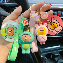 Cartoon Brown Bear Keychain Cute Dinosaur Frog Pig Girl Doll Keyrings Kids Toy Key Chain Women gifts