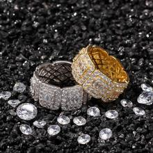 New Arrival Luxury AAA Cubic Zirconia Ring Fashion Unisex Lovers Hip Hop Silver/Gold Color Ring hibride luxury white gold color dark blue aaa cubic zirconia fashion women jewelry sets n 58