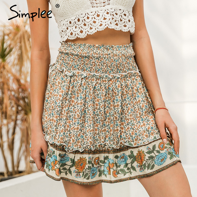 Simplee Pleated Elastic High Waist Women Short Skirts Bohemian Floral Print Female Skirts Casual Beach Wear Summer Cotton Skirts