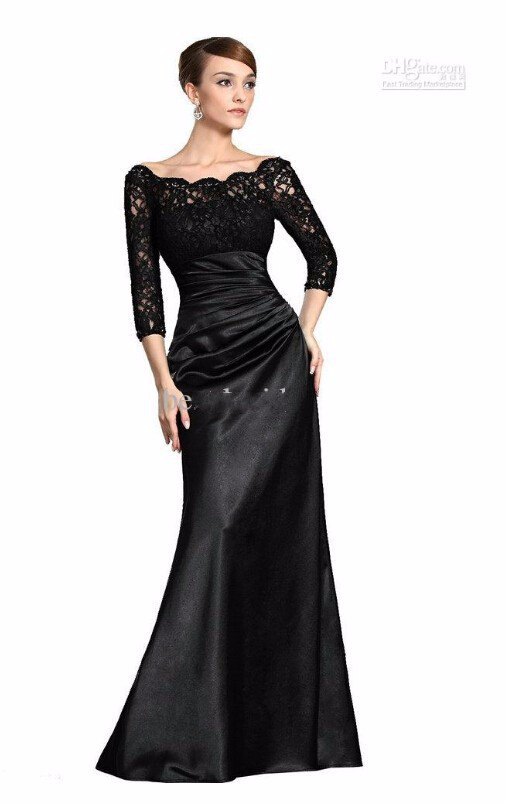 Three Quarter Sleeves Boat Neck Black Lace Mother Of Bride Dress 2015 Floor Length New Fashionable Vestido De Festa Longo