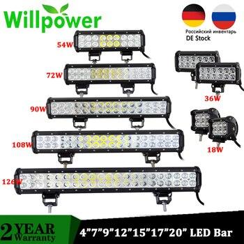 цена на 18W 36W 72W 108W Led Light Bar Work Lights 12v Spot Flood Combo Beam for Truck Tractor ATV SUV 4X4 4WD Offroad Headlights