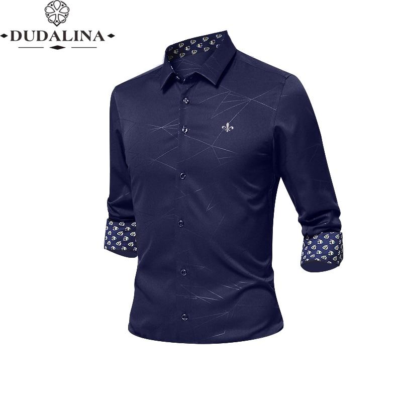 Anti-wrinkle And Non-iron Blusa Camisa Social Masculina Dudalina Long Sleeve Stripe Slim Fit Shirt Men Clothing White Male