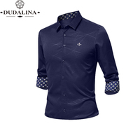 Anti wrinkle and non iron Blusa Camisa Social Masculina Dudalina Long Sleeve Stripe Slim Fit Shirt Men clothing White Male