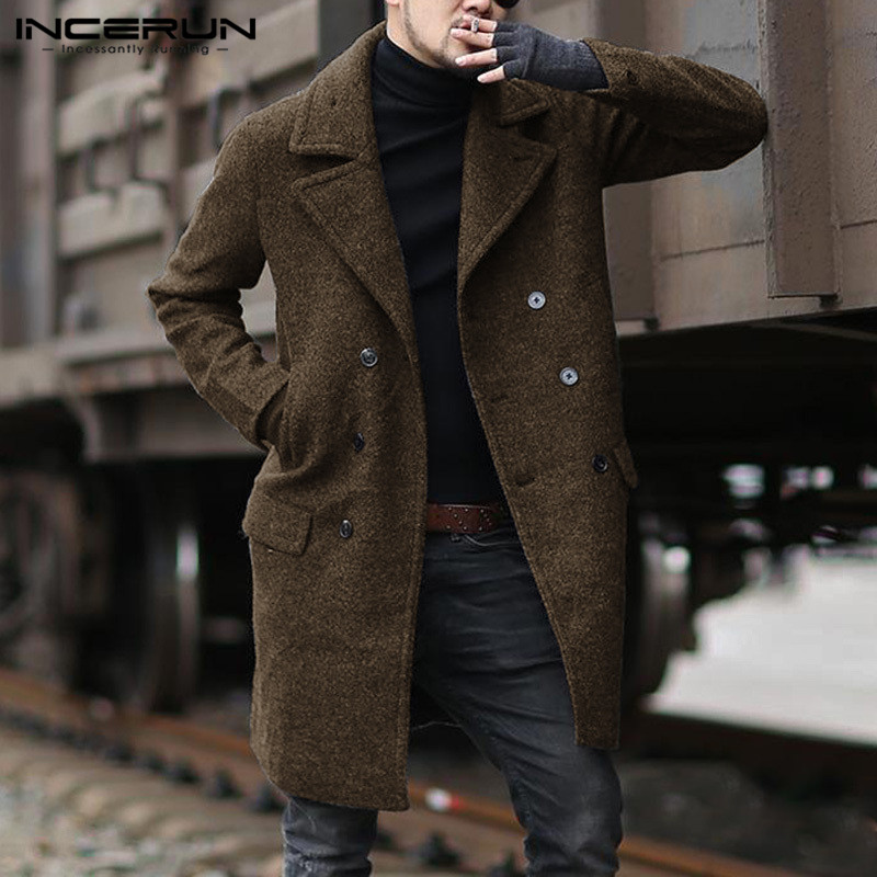 Winter Men Coats Faux Wool Blends Double Breasted Long Sleeve 2020 Streetwear Solid Fashion Mens Jackets Chic Overcoats INCERUN