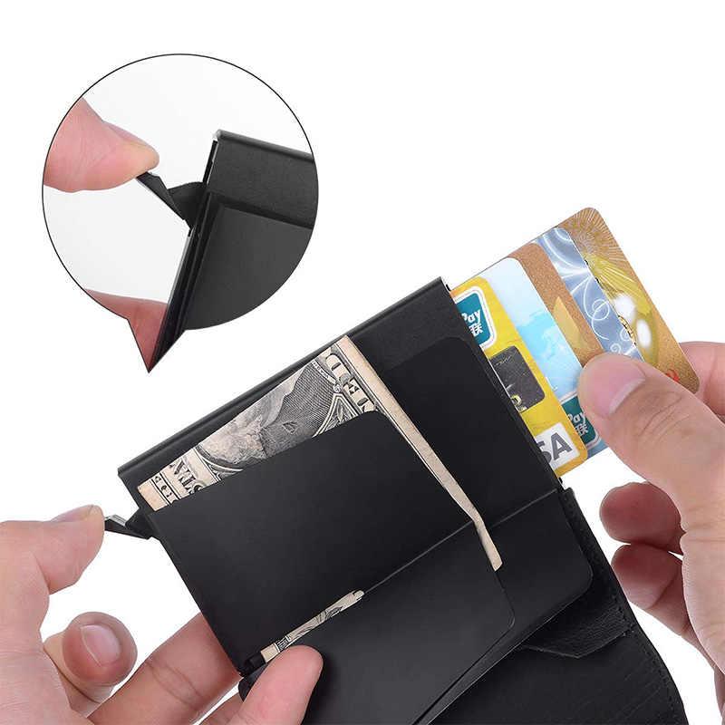 Cartera de hombre con bloqueo RFID y tarjetero de cuero PU con cierre automático y soporte de tarjeta de identificación de negocios