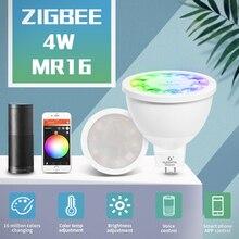 スマートホームzigbee音声制御rgbw 4ワットMR16電球DC12V led rgbcctスポットライトの色と白のスマートledワークとエコープラスハブ