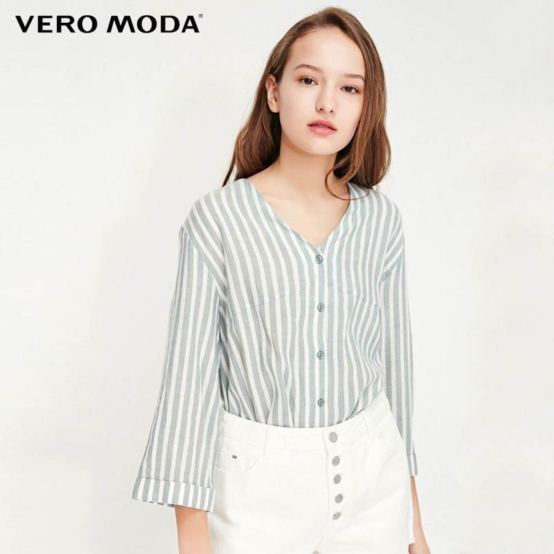 Vero Moda Women Stripe Single Button Long Sleeve Shirt | 319231551