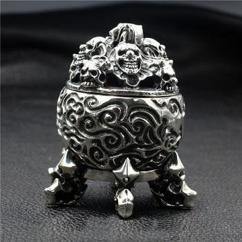 Skull incinerator 925 sterling silver handmade thick ornaments punk retro domineering six feet недорого