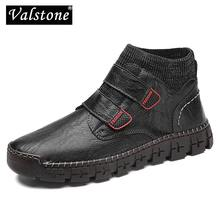 Valstone Leather Men High-top Shoes Autumn Casual Flats Sneaker Handmade Fashion Vintage Street Zapatos de hombre Big Size 39-48(China)