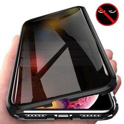 Adsorpcja magnetyczna szkło hartowane prywatność metalowe etui na telefon Coque 360 magnes Antispy pokrywa dla iPhone XR XS MAX X 8 7 6 6s Plus
