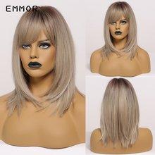 Emmor термостойкий Средний прямой парик для волос коричневый