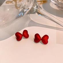 Zeojrlly serce metalowe damskie modne kolczyki czerwone podwójna miłość kolczyki koreańskie modne kolczyki śliczna koreańska biżuteria tanie tanio Ze stopu cynku CN (pochodzenie) Kobiety TRENDY