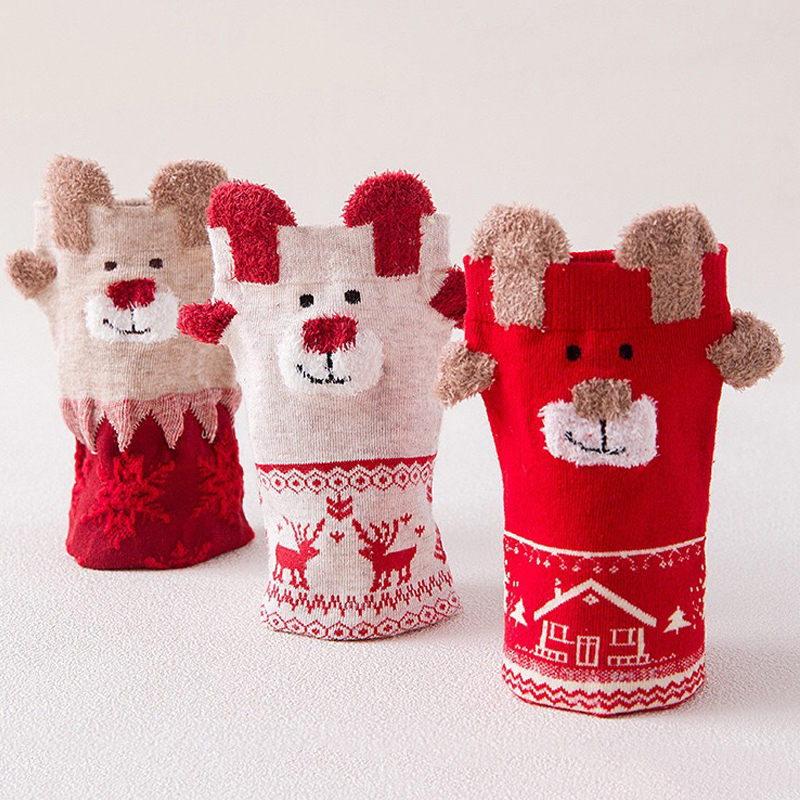 Christmas Socks Women Girls Cartoon Funny Cute Foot Personality Socks Harajuku Christmas  printed Xmas Socks 1 Pair