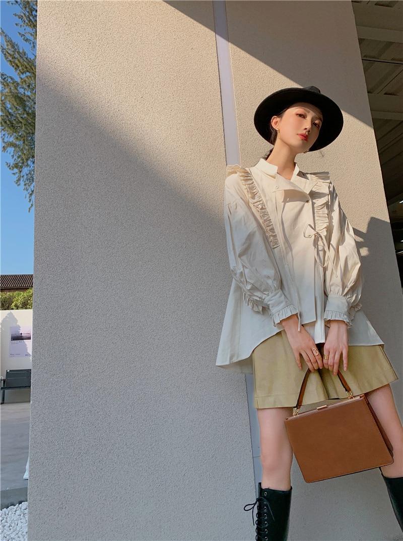 CHEERART Spring 2021 Cotton Lantern Sleeve Designer Shirt Long Sleeve Beige Stand Collar Tie Fashion Women Top And Blouse