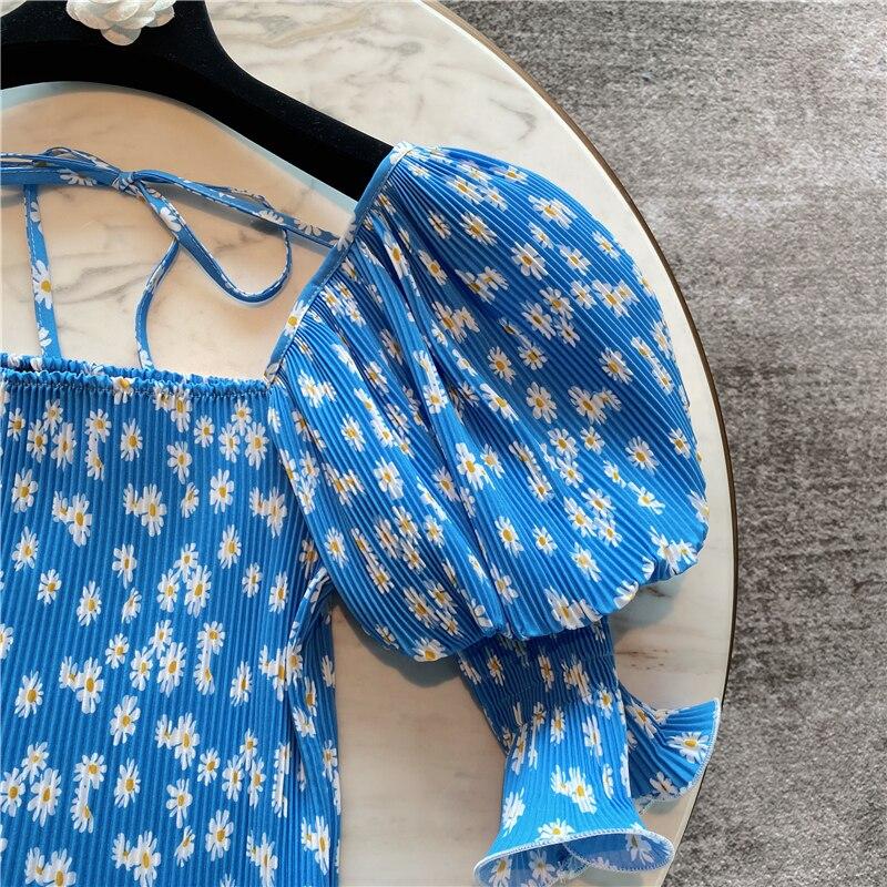 Crop Top Women Summer Blouse New Lantern Puff Sleeve Daisy Printed Short Chiffon Shirt Girls Ladies Blouses Tops Blusa -