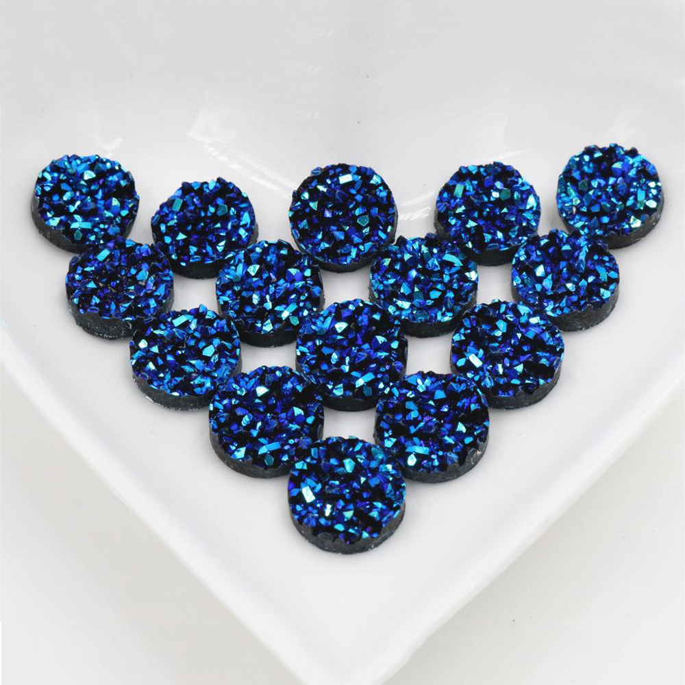 New Fashion 40pcs 12mm Ice Blue AB Colors Natural Ore Style Flat Back Resin Cabochons For Bracelet Earrings Accessories-V4-11